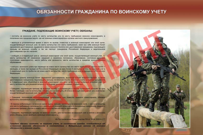Обязанности гражданина по воинскому учету