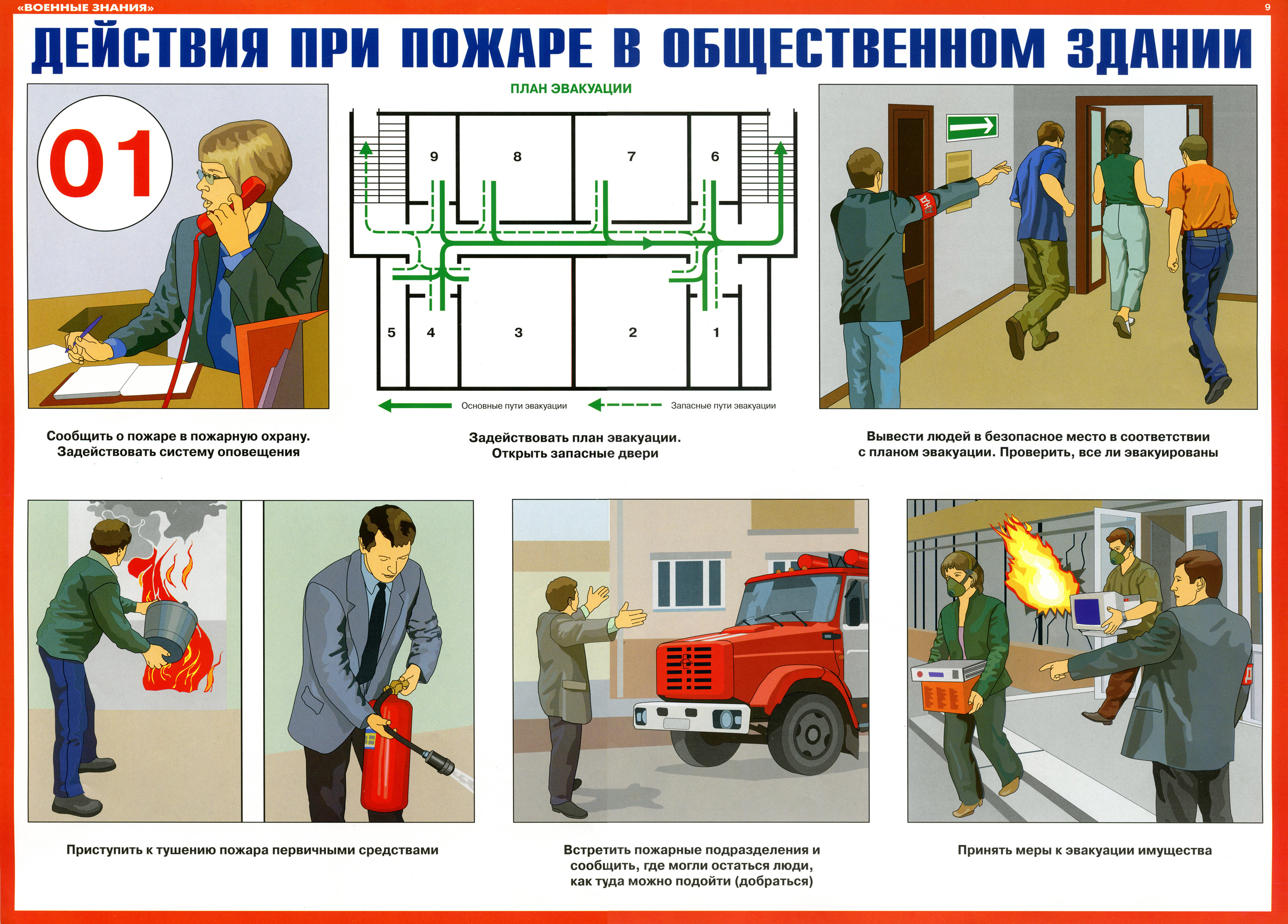 Плакаты_Военные знания_9_Действия при пожаре в общественном здании
