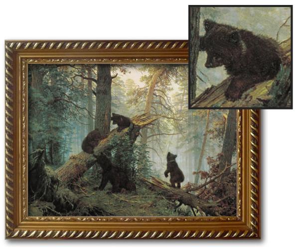 картина в сосновом лесу
